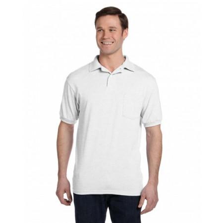 054P Adult 5.2 oz., 50/50 EcoSmart® Jersey Pocket Polo - Hanes Polo Shirts