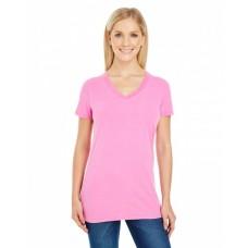 230B Ladies' Pigment-Dye Short-Sleeve V-Neck T-Shirt - Threadfast Apparel Womens T Shirts
