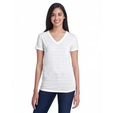 252RV Ladies' Invisible Stripe V-Neck T-Shirt - Threadfast Apparel Womens T Shirts