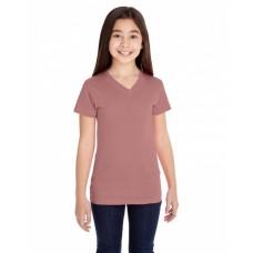 2607 Girls' V-Neck Fine Jersey T-Shirt - LAT Jersey T Shirts