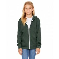 3739Y Youth Sponge Fleece Full-Zip Hooded Sweatshirt - Bella + Canvas Hooded Sweatshirts