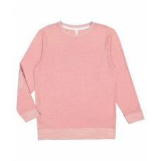 6965 Adult Harborside Melange French Terry Crewneck with Elbow Patches - LAT Terry Sweatshirts