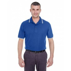 8545 Men's Short-Sleeve Whisper PiquéPolo with Tipped Collar and Cuffs - UltraClub Mens Polo Shirts