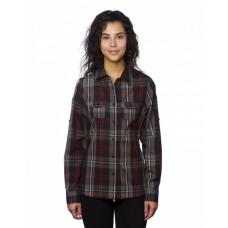B5222 Ladies' Long-Sleeve Plaid Pattern Woven Shirt - Burnside Women Woven Shirts