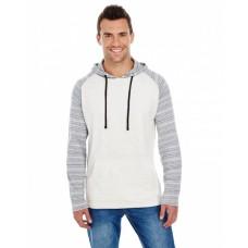 B8127 Adult Raglan Sleeve Striped Jersey Hooded T-Shirt - Burnside Jersey T Shirts