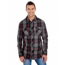 B8202 Men's Long-Sleeve Plaid Pattern Woven Shirt - Burnside Mens Woven Shirts