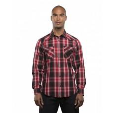 B8206 Men's Long-Sleeve Western Plaid Shirt - Burnside Mens Woven Shirts