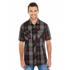 B9202 Men's Short-Sleeve Plaid Pattern Woven Shirt - Burnside Mens Woven Shirts