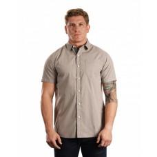 B9290 Men's Peached Poplin Short Sleeve Woven Shirt - Burnside Mens Woven Shirts