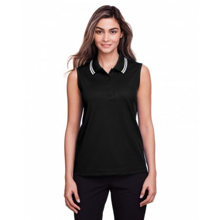 DG20SW Ladies' CrownLux Performance™ Plaited Tipped Sleeveless Polo - Devon & Jones Women Polo Shirts