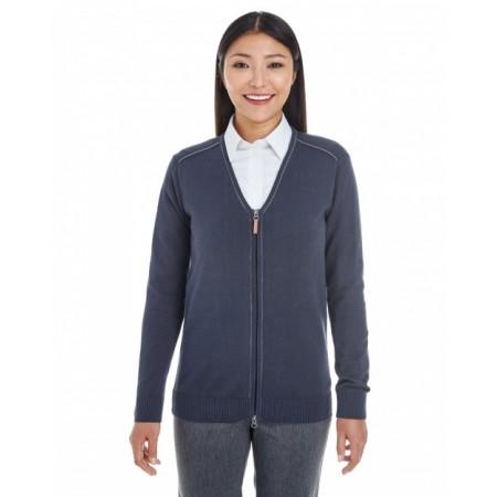 DG478W Ladies' Manchester Fully-Fashioned Full-Zip Cardigan Sweater - Devon & Jones Womens Sweaters