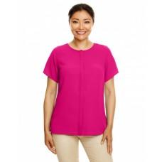 DP612W Ladies' Perfect Fit™  Short-Sleeve Crepe Blouse - Devon & Jones Women Woven Shirts