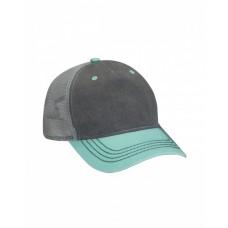 Adams EN102 Caps - Pigment-Dyed Twill & Mesh 5 Panel Trucker Cap