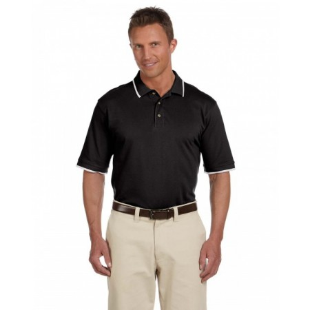 M210 Adult 6 oz. Short-Sleeve Piqué Polo with Tipping - Harriton Polo Shirts