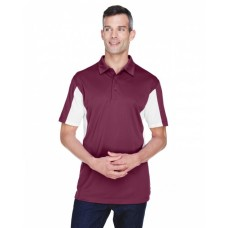 Harriton M355 Polo Shirts - Men's Side Blocked Micro-Piqué Polo
