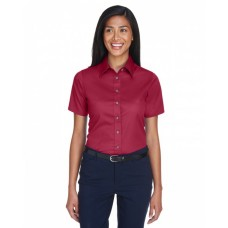 Harriton M500SW Shirts - Ladies' Easy Blend™ Short-Sleeve Twill Shirt withStain-Release