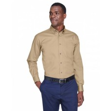 Harriton M500T Shirts - Men's Tall Easy Blend™ Long-Sleeve Twill Shirt with Stain-Release