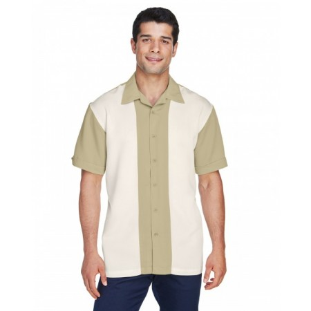 M575 Men's Two-Tone Bahama Cord Camp Shirt - Harriton Mens Woven Shirts