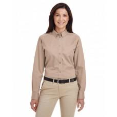 M581W Ladies' Foundation 100% Cotton Long-Sleeve Twill Shirt withTeflon™ - Harriton Women Woven Shirts