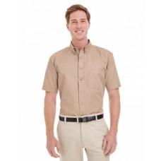 M582 Men's Foundation 100% Cotton Short-Sleeve Twill Shirt with Teflon™ - Harriton Mens Woven Shirts