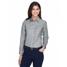 M600W Ladies' Long-Sleeve Oxford with Stain-Release - Harriton Women Woven Shirts