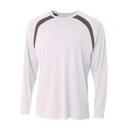 N3003 Men's Spartan Long Sleeve Color Block Crew Neck T-Shirt - A4 Mens T Shirts