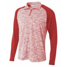 N4249 Adult Space-Dye 1/4 Zip with Contrast Sleeve - A4 Sweatshirts